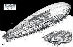Hindenburg (LZ129) airship, cutaway view.