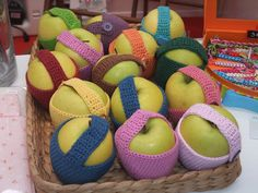 apple cosy in assorted colours. Cosy, Colours, Apple, Amigurumi, Apple Fruit, Apples