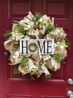 Floral wreath with cream deco mesh and reclaimed wood bless this home sign outdoor decor door hanging door swag welcome wreath