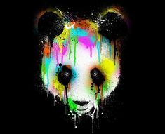 Digital Art by Design-By-Humans I love the wash of color on this panda face done to the black background making it stand out all the more. The dripping spray paint done in neon colors make it a interesting pop art feeling.