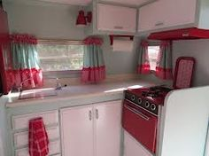 vintage campers for sale - Google Search. I like the set up of this kitchen.