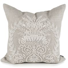 Limited Production Design & Stock: Embroidered French Pillow * Linen, Natural* Sq: 21 inches