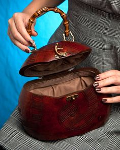 Beautiful gourd purse with bamboo handles and brass hardware