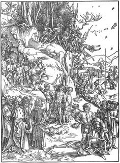 Martyrdom of the Ten Thousand -(10.000 martrys of Mt.Ararat) 1496-Albrecht Durer-Albertina Vienna--The painting illustrates the legendary martyrdom of 10.000 Christian soldiers perpetrated on Mount Ararat by the King of Persia, Shapur I, by the order of the Roman emperor Hadrian or Antoninus Pius, or, according to other sources, Diocletian.