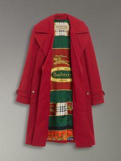 31bd615600 Oversized Lapel Cotton Gabardine Trench Coat in Parade Red - Women