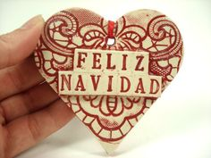 feliz navidad heart mexican christmas ornament on etsy - Spanish Christmas Decorations