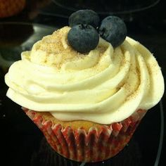 Blueberry Pancake Cupcakes with Maple Syrup Buttercream