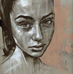 """Non Nude OIL & ACRYLIC CANVAS Painting ORIGINAL Portrait By L Dolan 12x12"""" Jula"""