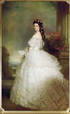 Kaiserin Elisabeth im Sternenkleid (Empress Elisabeth in a star spangled robe). Oil on canvas by Winterhalter,Franz Xaver.