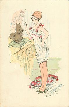 chica en ropa interior se enfrenta a la izquierda tratamiento que ofrece a la mendicidad pequeño perro de peluche en la plataforma