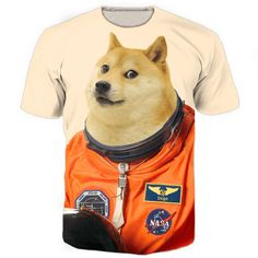 New Fashion Womens/Mens The Doge Astronaut Funny Print Casual T-Shirt
