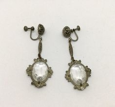 Art Deco Filigree Crystal Glass Dangle Earrings by NOTABOUTNEED on Etsy