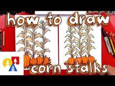 How To Draw Autumn Corn Stalks And Pumpkins (Harvest) - Art For Kids Hub -
