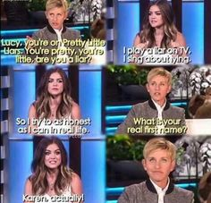 HAHAHAHA Ellen is suprised she acually told the truth