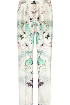 Printed silk-blend straight-leg pants w/ turquoise-tinted roses and #psychedelic swirls. Parabal Gurung