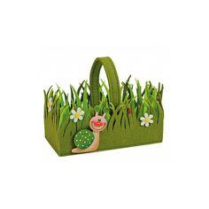 Groen paasmandje van vilt. Paasdecoratie en paasversiering bij Fun en Feest. Pasen, niet zonder ons!