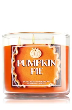 "Pumpkin Pie - 3-Wick Candle - Bath & Body Works - The Perfect 3-Wick Candle! Made using the highest concentration of fragrance oils, an exclusive blend of vegetable wax and wicks that won't burn out, our candles melt consistently & evenly, radiating enough fragrance to fill an entire room. Burns approximately 25 - 45 hours and measures 4"" wide x 3 1/2"" tall."
