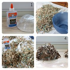 cool bird nest idea with shredded paper Bird Nest Craft, Bird Crafts, Easter Crafts, Fun Crafts, Bird Nests, Holiday Crafts, Spring Projects, Spring Crafts, Fun Projects