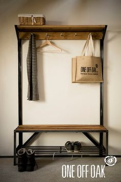 English Oak and Steel Coat Rack Bench