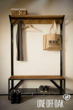 English Oak and Steel Coat Rack Bench