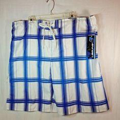 Laguna Swim Trunks Mens 2XL White Blue Stripes Bathing Suit Swimwear #Laguna #Trunks #Summer