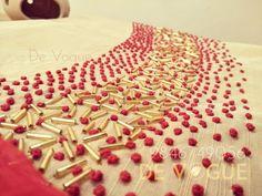 #designersalwar #handworksalawar #designer #cutbeads #beautiful #Kerala #traditional #goldenbeads #handwork #embroidery #thread #frenchknot #tubes #red #ivory  #semirawsilk Hand Embroidery Patterns Flowers, Hand Work Embroidery, Learn Embroidery, Hand Embroidery Stitches, Beaded Embroidery, Beading Patterns, Embroidery On Kurtis, Kurti Embroidery Design, Embroidery Neck Designs