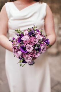 Wedding bouquet with pink, purple and lavender flowers