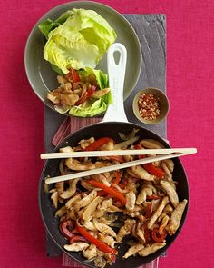 Chicken Stir-Fry Wraps - Martha Stewart Recipes #Paleo - sub tamari for soy sauce. Sub arrowroot for cornstarch