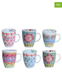 Set of 6 cups 375ml Overbeck and Friends - love the colors!