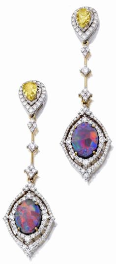 {DETAIL OF EARRINGS} Black opal, fancy colored diamond and diamond jewelry A pair of day/night pendant earrings en suite, set with two oval cabochon black opals, weighing an estimated total of approximately 6.07 carats, and fancy yellow pear-shaped diamonds, each weighing 1.01 carats. #opalsaustralia