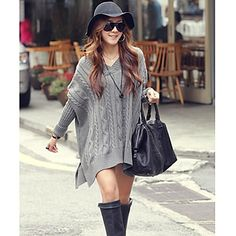Women's V Neck cable knit tunic