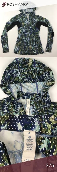 Rare Print Size 4 Lululemon Run Beam Hoodie Excellent condition lululemon athletica Sweaters