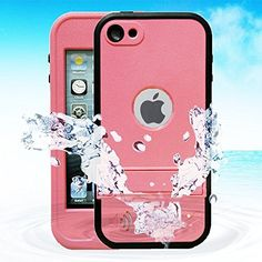 awesome Comsoon(TM) Waterproof Case for Apple iPod Touch 5th Generation Waterproof Heavy Duty Defender iPod Touch 5 Case, iPod 5 Cases For Boys Girls Kids, Built-in Touch Screen Protector for Better Shockproof Dirtproof Snowproof Dustproof Sweatproof, Kickstand for Viewing Hands Free (Pink)