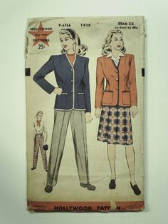 40s -Hollywood Pattern No. 1428- Womens collarless cardigan jacket with two large patch pockets and longsleeves. Regulation slacks, skirt with three inverted pleats in the front and back.
