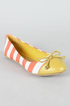 Dollhouse Koni Two Tone Bow Striped Ballet Flat