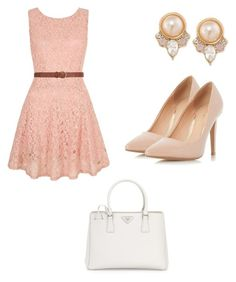 """Peach Friday"" by you-shine-like-gold ❤ liked on Polyvore featuring Carolee, Yumi, Dorothy Perkins and Prada"
