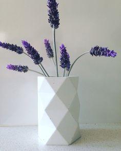 White cement vase