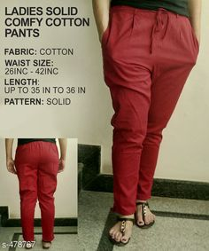 Trousers & Pants Gorgeous Cotton Pant Fabric: Cotton Waist Size: 26 in 28 in 30 in 32 in 34 in 36 in 38 in 40 in 42 in Length: Up to 35 in to 36 in Type: Stitched Description: It Has 1 Piece of Pant Pattern: Solid Country of Origin: India Sizes Available: 26, 28, 30, 32, 34, 36, 38, 40, 42, 44, 46   Catalog Rating: ★3.8 (318)  Catalog Name: Ladies Solid Comfy Cotton Pants CatalogID_52472 C79-SC1034 Code: 763-478767-9921