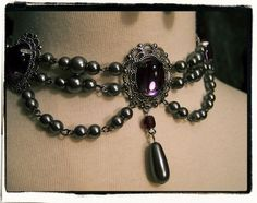 Gothic Boudoir Pearls Choker Necklace and Earring Set Renaissance Regency Costume Jewelry