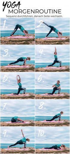 Yoga morning routine - 10 exercises for a great start to the day We from surflifebalance have photographed a beautiful yoga flow for you that you can easily replicate :) Yoga sequence, yoga flow, surfer yoga, morning routine Fitness Del Yoga, Fitness Workouts, Tips Fitness, Health Fitness, Yoga Flow, Yoga Meditation, Yoga Beginners, Beginner Yoga, Pilates