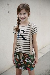 R'Belle Navy Floral Drapey Skirt van R'Belle kinderkleding