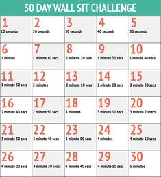 Wall sit challenge: Already accomplished in this area? Add a 45 seconds to every day and push yourself farther!
