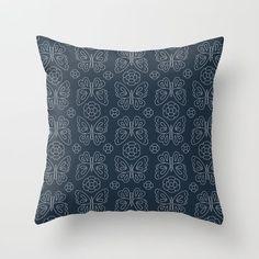 Japanese Sashiko Butterflies & Flowers Throw Pillow