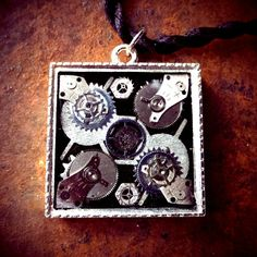Big Silver Square Pendant by ColdGarageCreations on Etsy