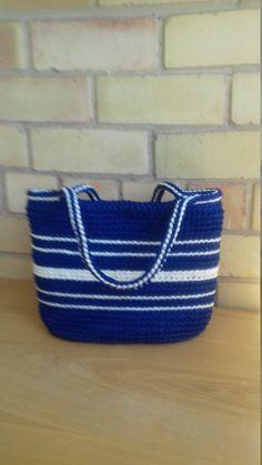 Dark blue crochet bag - Summer Beach bag - Stylish handbag - Shoulder bucket bag - Top Handle bags - Shopping basket by CutecraftsLT on Etsy Crochet Shell Stitch, Bead Crochet, Crochet Handbags, Crochet Bags, Crochet Ideas, Barrel Bag, Purses And Handbags, Bucket Bag, Women's Bags