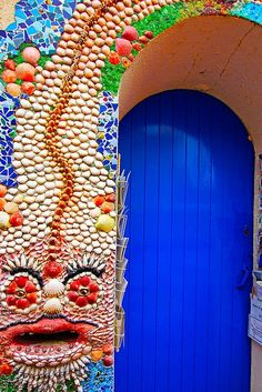 blue door..mosiac wall