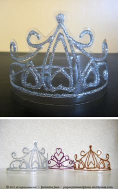 DIY Crystal Crowns ~ Okay, perhaps not exactly crystal.  More like plastic soda pop bottles and glitter  glue — that's really all these glistening crowns are made of.