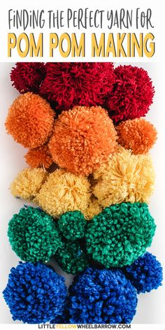 Need to make a lot of pom poms for an upcoming craft project? Not sure what yarn to use, or kind? Check our yarn pom pom guide to see a side by side comparison of different size yarns made with different size pom pom makers. Crafts For Teens To Make, Crafts To Sell, Diy And Crafts, Easy Yarn Crafts, Pom Pom Crafts, Spring Crafts, Holiday Crafts, Pom Pom Maker, Do It Yourself Crafts