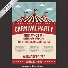Carnival party poster in retro style Free Vector