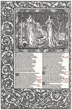 Pre Raphaelite Art: Edward Burne-Jones, from The works of Geoffrey Chaucer